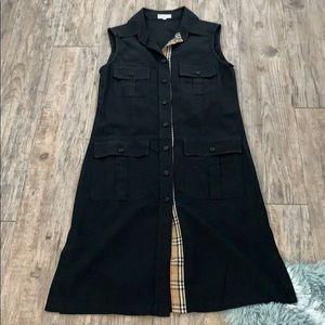Vintage Burberry Utility Black Dress